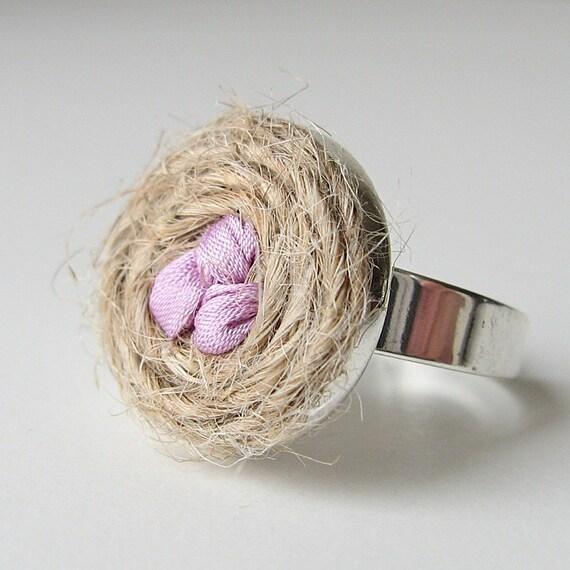 Bird's nest ring, boho bridesmaid gift, rustic woodland ring, bird lover's gift, family ring