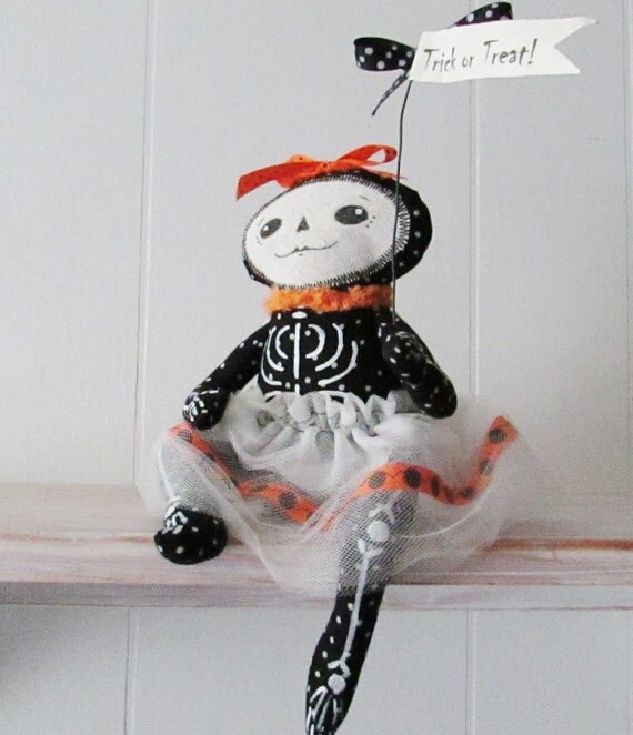 Halloween Handmade OOAK Art Collectible Doll - Rita Bone - One of the 'Bone Sisters' - Halloween Decoration - One of a Kind Halloween Decor