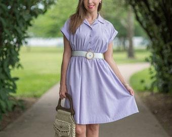 Vintage Lavender Day Dress (Size Medium)
