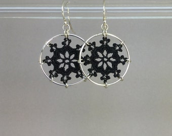 Nautical doily earrings, black silk thread
