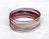 HARVEST SALE Handcrafted Bangle Set - 'Fancy Knickers' - Nude Toned Enamel Bracelets