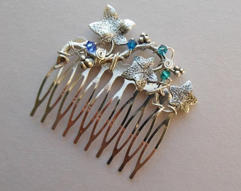 Silver Ivy Leaves Hair Comb -- Silver Ivy Vine, Blue/Turquoise Swarovski Crystals, Silver Comb, Wire wrapped, Wedding Hair Accessory