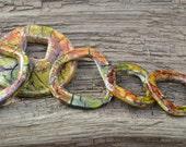 Ring-Donut Bead Set 6 Polymer Faux Raku Ceramic Rustic Artisan