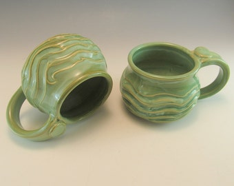 SET OF 2  Hand Made Pottery Wave Mug/Ocean Pottery Coffee Mug/Cup-8-9 OUNCES in Foamy Green