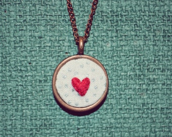 Hand Embroidered Heart Necklace