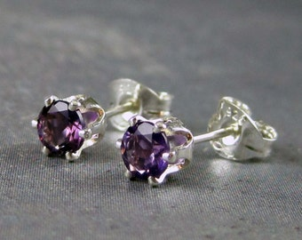 Amethyst earrings, amethyst post earrings,  amethyst jewelry, purple gemstone earrings, february birthstone earrings, gemstone studs