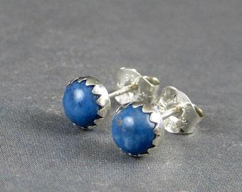 Lapis lazuli stud earrings, lapis post earrings, denim Blue Lapis studs, denim blue, denim earrings, blue gemstone earrings, casual earrings