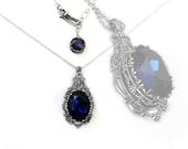 Blue Gothic Necklace // Victorian Gothic Jewelry // Dark Indigo Swarovski // Antique Silver Gothic Pendant nickel free jewelry