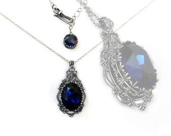 Blue Gothic Necklace // Dark Indigo Swarovski // Victorian Gothic Jewelry // Antique Silver Gothic Pendant