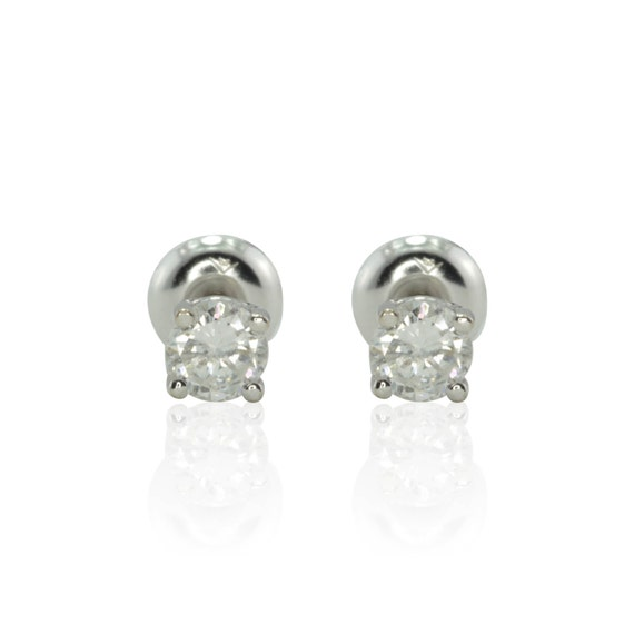 Laurie Sarah Diamond Studs in White Gold - Quarter Carat Size - LS1062