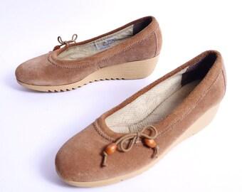 Vintage Cherokee Style Wedge Slip On Shoes 8