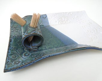 Slate Blue Green and White Textured Floral Handmade Ceramic Pottery Appetizer Serving Toothpick Plate