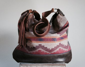 NEW//Agatha in Oregon Wool, Vintage Duck Canvas, and Brown Leather with Horween Leather Adjustable Strap