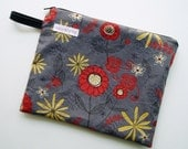"""9"""" x 7"""" Double Pocket Wet Bag, Gray Red Yellow Floral Ladybug Flower, PUL Lined Travel Bag Cloth Menstrual Pads Water Resistant Zipper Pouch"""