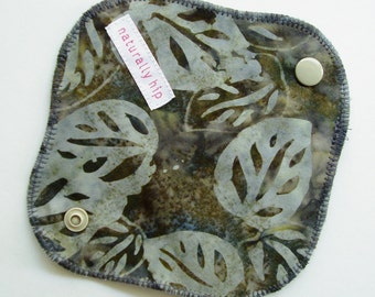 """6"""" 15cm Cotton Velour Panty Liner, Grey Leaves Batik, Cloth Menstrual Pad, Incontinence Liner, Waterproof Light Days Washable Made in Canada"""