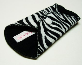 6in Cotton Flannel Panty Liner w/ Zebra African Animal Print - Black & White