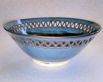Blue Wheel Thrown Pottery Bowl with incised lattice around the rim