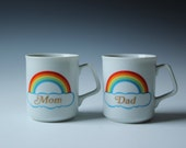 Mom and Dad rainbow coffee mugs - novelty gifts coffee cups - 80s Japan
