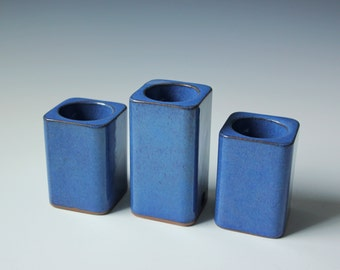 3 Danish modern blue glazed candle holder - Danish pottery