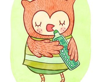 Owl with a Melodica - Orange Owl Nursery Art, Owl Illustration, Owl Wall Art, Owl Nursery Decor, Nursery Art Illustration Print