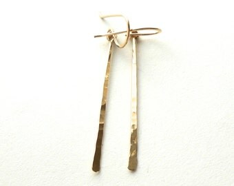 Simple Hammered Long Gold Dangle Earrings, Gold Filled Stick Earrings, Minimal Jewelry