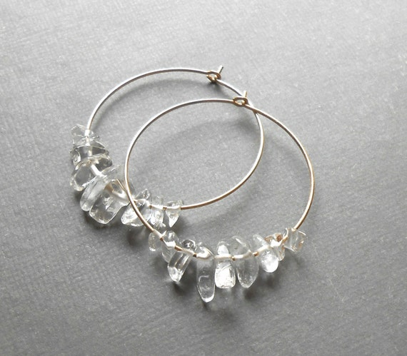 Gold Hoop Earrings, Crystal Quartz Earrings, Gold Filled Crystal Hoops