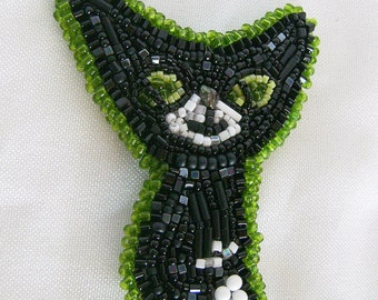 Bead Embroidered Black Cat pin brooch