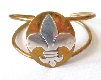 Fleur de lis Bracelet Jewelry Married Metals Copper Bracelet 80s Signed