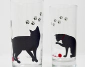 Cat lover gifts, Set of 2 Cat Glasses - Everyday Drinking Glasses, Water Glasses, Cat Lover, Cats, Black Cat, Cat Glass, Cat Paw Prints
