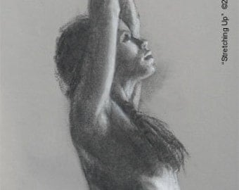 Charcoal and Chalk Life Drawing -- STRETCHING UP -- 18 by 10 inch unframed original art, by Diana Moses Botkin
