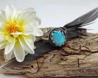 Kingman Turquoise Cabochon Sterling Silver Ring, size 8, rustic, artisan, metalwork, handmade, Boho, Bohemian, Gypsy, Cowgirl