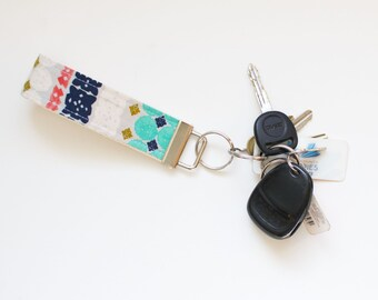 Bandana Paper Cuts Fabric Keychain Fob