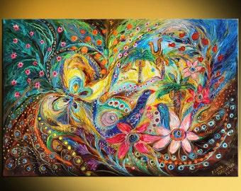 "Jewish art original painting ""Under the shadow of date tree"" birds oranges pomegranates Hebrew words Judaical attributes Horseshoe Hamsa"