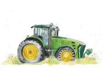 Green Tractor Print- Farm Tractor Print - Truck Nursery Print - Farm Truck Wall Decor - Farm Truck Wall Art - Modern Farmhouse