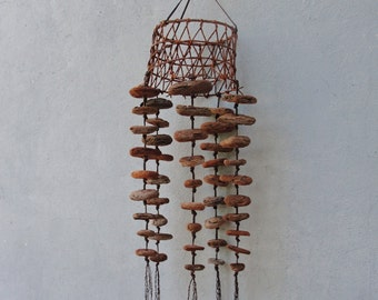 Driftwood Windchime, Rustic Fishnet and Driftwood, Beach Finds Installation, Wall Hanging