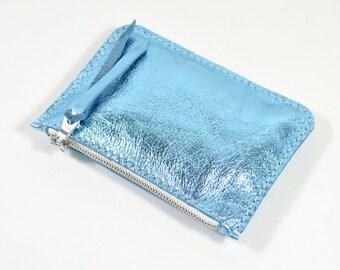 Handmade Metallic Blue Leather Zip Pouch Purse SC16