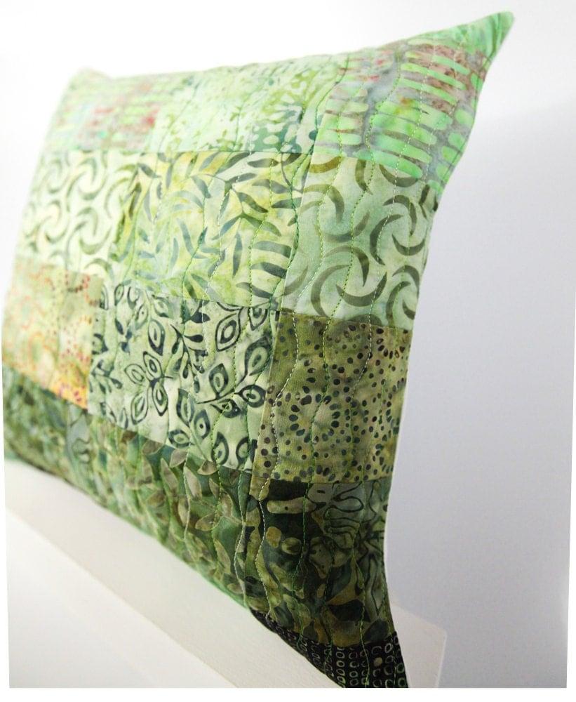 Patchwork Pillow Sham Quilted Modern Pillow Green Decor