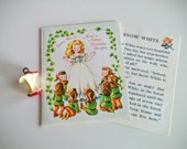 Vintage 50s Greeting Card Birthday Snow White 7 Dwarfs Story Book Card Paper Ephemera
