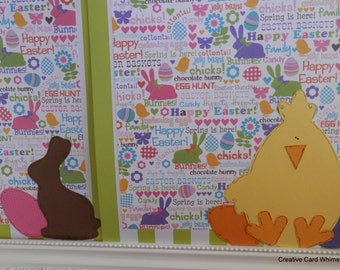 Scrapbook 12x12 Two Pages Chick and Bunny Happy Easter Paper Pieced Spring Brights