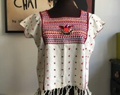 Vintage Embroidered Box Top with Fringe; Hippie Bohemian Style