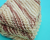 Cotton Wash Cloth, Hand Knitted Dish Cloths Wash Cloths, Coffee and Cream, Wash Cloth, Handmade Cloths