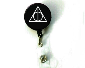 Harry Potter Deathly Hallows Image Retractable ID Name Holder Badge Reel Clip On Nurse -BLK