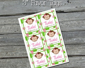 Mod Monkey Favor Tags - Monkey Birthday Party Tag - INSTANT DOWNLOAD