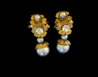Miriam Haskell clip on pearl and gold earrings