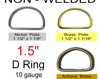 "10 PIECES - 1 1/2"" - NON Welded D Rings, Metal, 1.5, 38 mm - Antique Brass, Nickel or Brass Plate"
