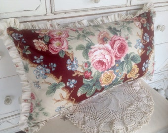 Pretty Porch Rose Feather Pillow Vintage Fabric So Shabby