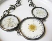 real daisy bracelet - statement bracelet - real flower bracelet - pressed flower jewelry - rainbow necklace - white bracelet