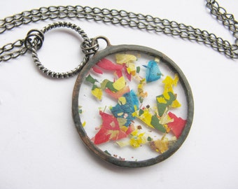 flower petal necklace - statement flower necklace - real flower necklace - pressed flower jewelry - rainbow necklace