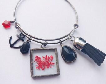 red flower bracelet - tassel bracelet - anchor bracelet - gothic bracelet - black bracelet - black charm bracelet - adjustable bracelet
