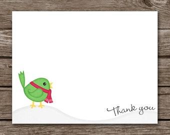 Bird Thank You Cards, Holiday Thank You, Christmas Thank You Cards, PRINTABLE